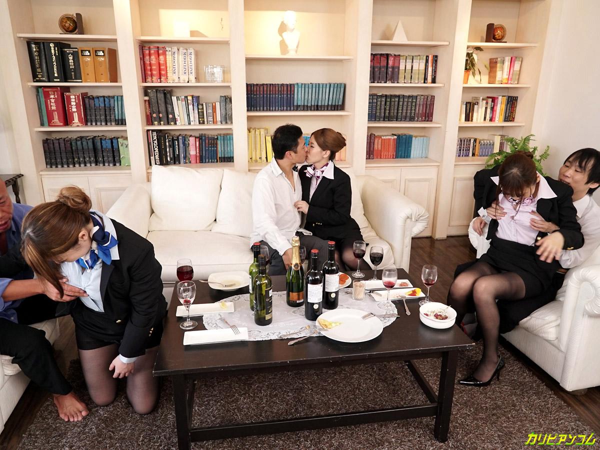 Hot jizz-hungry asian air hostesses enjoy a wild orgy with their clients № 1470388  скачать