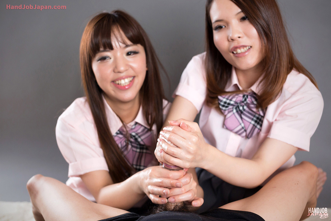Clothed barely legal blonde girls giving a handjob together  1196226